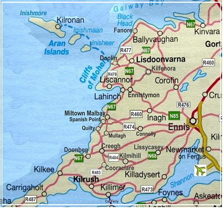 Map Of Co Clare Clare Kayak Hireclare Kayak Hire